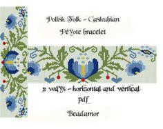 Peyote Pattern for bracelet: Polish folk 2 ways horizontal and vertical - INSTANT DOWNLOAD pdf