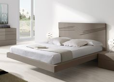 Soma Contemporary Bed 995 Selected options: Size: Super King Size 202cm wide x 213cm long (mattress size 180 x 200cm) Headboard is 110cm tall and frame is 32cm tall. Finish: Matt lacquer Lacquer Colours: L15 Grey One piece slats