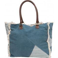 Grand sac cabas imprimé citation bleu