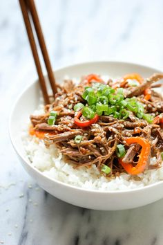 Slow Cooker Korean Beef by damndelicious: Amazingly tender, flavorful Korean beef made right in the slow cooker with just 3 ingredients and 5 min prep. #Beef #Korean Slow_Cooker