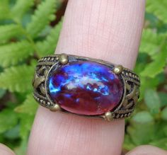 Dragon's Breath Ring, Mexican Opal, Unisex Ring, Red Blue Stone Ring, Gothic Ring, Edwardian Ring, Vintage Glass Ring