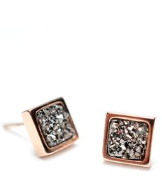 Precious Metal Stud Earrings - Drusy is a naturally-formed coating composed of fine crystals that forms on rock surfaces or geodes. The delicate crystal surface cannot be polished or altered, therefore the surface may appear slightly uneven.