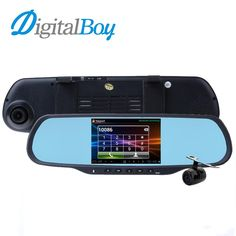 "Digitalboy 5.0"" Dual Cam Car Dvrs 1GB RAM 8GB ROM WiFi GPS Navigation Bluetooth Handfree Car Kits Car Mirror Android Dash Camera"