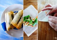 Healthy spring rolls: duck and vegan versions