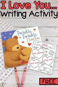 """Are you looking for a simple Valentine's Day writing activity for your little ones? This """"I Love You…"""" Writing Activity is fun a way to get your kids to think and write about what they like or love. This note would make an adorable keepsake for parents or grandparents. I always cherish the sweet things that my children write and will hold on to these treasures forever. Click on the picture to get these templates for free! #valentinesdaywritingactivity #writingactivity #valentinesdaykeepsake"""