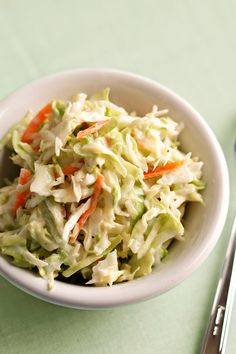Low-fat yogurt and light sour cream make this caraway-flavored coleslaw creamy and rich. It's a low-carb side dish that's ideal for a diabetic meal plan. #memorialdayweekend #memorialdayrecipes #recipe #eatingwell #healthy Creamy Coleslaw, Coleslaw Mix, Barbecue Side Dishes, Healthy Salad Recipes, Yogurt Recipes, Keto Recipes, Healthy Food, Diabetic Meal Plan, Low Fat Yogurt