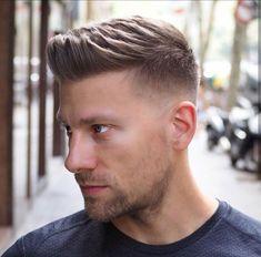 Business Haircut Side Parted Short Pompadour. Best Young Men's Business Haircuts Side Part with Quiff Taper Haircut Side Part Hairstyles, Short Bob Hairstyles, Hairstyles Haircuts, Barber Haircuts, Cool Mens Haircuts, Short Hair Cuts, Short Hair Styles, Short Pompadour, Greaser Style