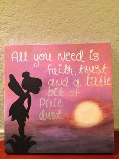 Facing The Fear of Canvas Painting- would be awesome to use glitter spray and make it so that she is blowing pixie dust. Canvas Crafts, Diy Canvas, Canvas Art, Canvas Paintings, Canvas Ideas, Disney Kunst, Disney Art, Do It Yourself Decoration, Art Projects