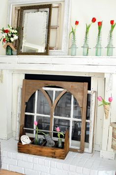 Valentine's mantel--old window covering fireplace.  ///