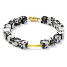Geometrisches Armband mit schwarz-weißen Türkisen  von CombaDesigns