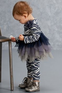 Kate Mack Baby-Girl's Infant Wild Streak Tunic and Legging, Navy. Tame your little animal in this zebra print tunic and legging set. She'll love the twirly tiered netting skirt and pretty netting flower embellishments. Baby Leggings, Tops For Leggings, Designer Baby Clothes, Baby Design, Zebra Print, Bathing Suits, Tunic Tops, Granddaughters, Swimwear