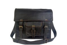 """Black Leather Briefcase 15"""" from High On Leather"""