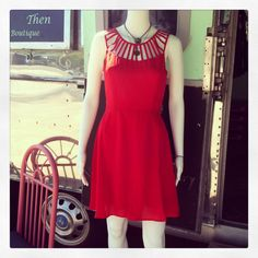Red Dress w/ Rail-like Neckline & Straps
