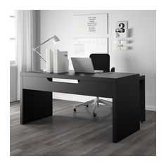 MALM Desk with pull-out panel, black-brown black-brown 59 1/2x25 5/8