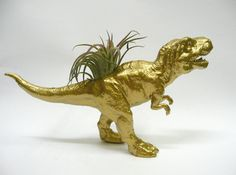 Gold T-Rex Dinosaur Planter with Air Plant by WhatJesseDid on Etsy
