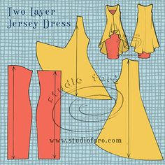 Two-layer Jersey Dress - pattern making instructions on the blog.  studiofaro well-suited