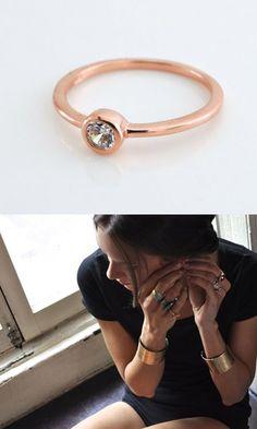 bezel set ring in rose gold Jewlery, Jewelry Box, Jewelry Accessories, Fashion Accessories, Jewelry Design, Jewelry Making, Diamond Stacking Rings, Rose Gold Diamond Ring, Eternity Ring