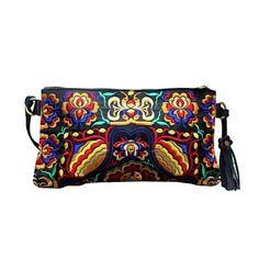 Bolsos de mano - Bolso tipo sobre de cuero bordado Mistic Geometry - hecho a mano por Bright-Boho en DaWanda