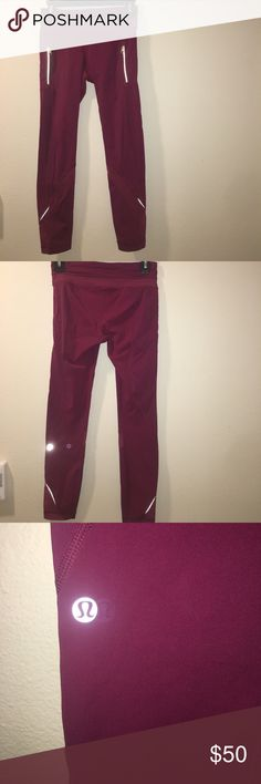 Lululemon Inspire Tights Great tights for running and working out and super cute color and waist band!!! Still in good condition! Maroon color! lululemon athletica Pants Leggings