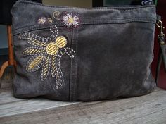 Leather Clutch Pouch recycled brown leather//suede from a
