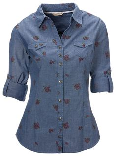 Buy the Natural Reflections Floral Chambray Shirt for Ladies - Long Sleeve and more quality Fishing, Hunting and Outdoor gear at Bass Pro Shops. Ladies Shirt Pattern, Shirt Patterns For Women, Plaid Shirt Women, Dress Shirts For Women, Blouses For Women, Dress Neck Designs, Blouse Designs, Casual Shirts, Casual Outfits