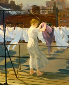 John French Sloan (American, 1871 – 1951) - Sun and wind on the roof, 1915