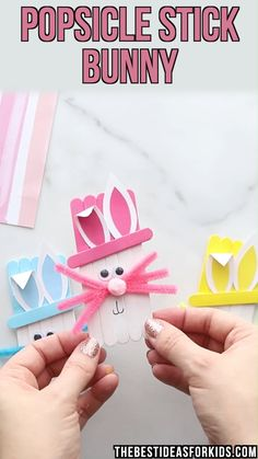 Popsicle Stick Easter Bunny - such a cute Easter craft! Perfect craft for kids! Easy for kindergarten to make too! day crafts for kids Popsicle Stick Easter Bunny Easter Crafts For Toddlers, Easy Easter Crafts, Spring Crafts For Kids, Easter Art, Bunny Crafts, Crafts For Kids To Make, Easter Crafts For Kids, Toddler Crafts, Easter Bunny