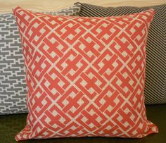 Pink Coral and Golden Beige and Tan Graphic Key Pattern Decorative Pillow Cover. $28.00, via Etsy.