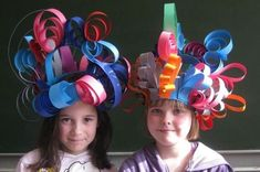 I could use this for crazy hat day.Paper strip hats using curled, folded and shaped paper strips. Approved by Andrea Beaty, author of Happy Birthday Madame Chapeau. Crazy Hat Day, Crazy Hats, Projects For Kids, Diy For Kids, Crafts For Kids, Candy Land Party, Silly Hats, Kindergarten Art, Art Lessons Elementary