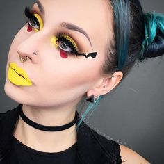 Pin for Later: These Are Going to Be the 10 Hottest Beauty Halloween Costumes For 2016 Pikachu Get in on the Pokémon Go craze by dressing as the elusive Pikachu. There's nothing mellow about this yellow makeup. Makeup Clown, Costume Makeup, Cute Halloween Makeup, Halloween Looks, Halloween Costumes, Halloween Ideas, Pikachu Face Painting, Pikachu Makeup, Pokemon Faces