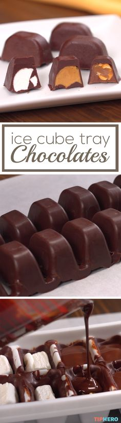 Make delicious filled chocolates at home with this simple recipe. With a few simple ingredients - milk or dark chocolate and your favorite fillings like nuts peanut butter marshmallows or caramel - and some ice cube trays you can whip your own homemad Just Desserts, Delicious Desserts, Dessert Recipes, Yummy Food, Mini Desserts, Plated Desserts, Delicious Chocolate, Pie Recipes, Recipies