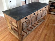 Soapstone top island - E. Soapstone Countertops, Soapstone Kitchen, Cheap Countertops, Farmhouse Kitchen Island, Modern Farmhouse Kitchens, Kitchen Islands, Rustic Kitchen Design, Cuisines Design, Wood Cabinets