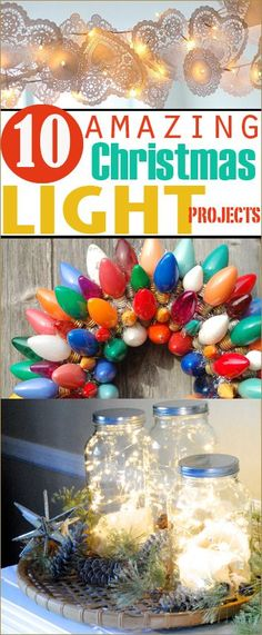 10 Christmas Light Projects.  New ways to decorate your home using string lights.  Home decor using lights.