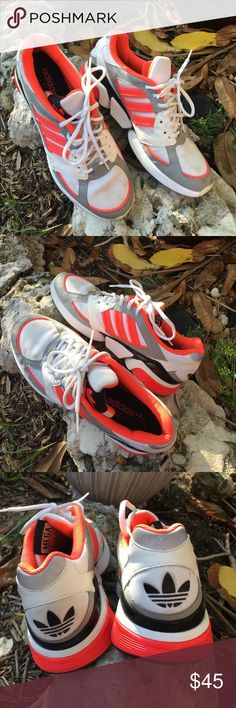 🆕Adidas MegaTorsion electric orangewhite sneakers Adidas Mega Torsion Men's electric orange, white, black & silver sneakers. EUC- a few stains on tip of toes can be cleaned. Other than this EUC. Price is reflective of this - ✅I ship same or next day ✅Bundle for discount adidas Shoes Athletic Shoes