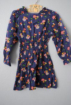vintage toddler girl mushroom dress