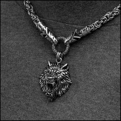 Viking Royalty Wolf Head End Chainmaille Necklace with Ferocious Snarling Fenrir Wolf Head Pendant Wolf Jewelry, Metal Jewelry, Silver Jewelry, Unique Jewelry, Medieval Jewelry, Viking Jewelry, Necklace Sizes, Necklace Lengths, Lion Necklace