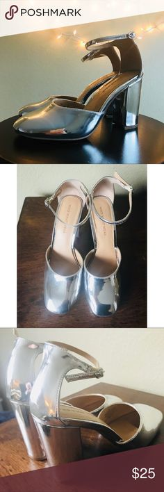 Silver heels will make you feel like Cinderella! These silver block heels are absolutely stunning and shine in every light. They're sure to win you compliments all day & night!   Dress them up for a wedding or special occasion, and dress them down with some denim and a flattering sweater for brunch.   Seriously, can't get enough of these stunners!  Details:  - Size 7.5  - True to size - Worn ONCE Who What Wear Shoes Heels