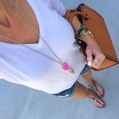 White Tee, jean shorts, Sam Edelman Gigi leopard sandals, Kendra Scott Rayne necklace | On the Daily EXPRESS - Instagram: @ontheDailyX