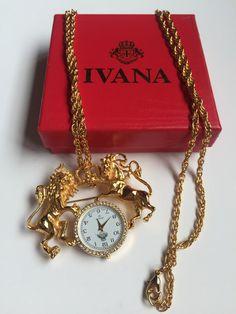 IVANA Trump pendant watch necklace/ brooch vintage