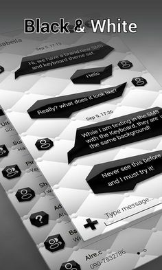 Text Message Background: Apps, Themes and Wallpaper Downloads | Drippler - Apps, Games, News, Updates & Accessories Text Message Backgrounds, Text Messages, Black And White Theme, Wallpaper Downloads, Texts, Custom Design, Bubbles, How To Apply, Lakes