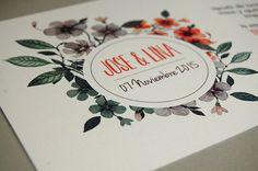 """LINA  Flores de acuarela para esta invitación de bodaque hicimos para la Boda Real de """"Fiesta y Boda 2015"""" y que ahora pueden ser las tuyas.  Formato: Diseño a doble cara realizado en papel verjurado de 300gramos.  Medidas:tamaño 148 x 148 mm  Incluye:invitación impresa a doble cara, tarjeta para lista de Graphic Design, Double Wedding, Wedding Invitations, Mariage, Paper Envelopes, Visual Communication"""