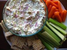 Dill Pickle Dip...  Combine equal parts sour cream, cream cheese, dill pickle relish and corned beef.