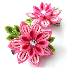 Kanzashi  Fabric Flowers. Set of 2 hair clips. Pink. by JuLVa, $13.50