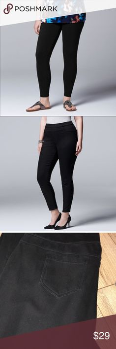 Plus Size Simply VERA WANG Solid Black jeggings PRODUCT FEATURES Elastic waistband Temperature-regulating fabric FABRIC & CARE Cotton/spandex/polyester  Machine wash Imported Simply Vera Vera Wang Pants Skinny