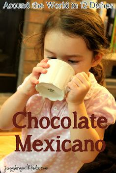 This month we traveled to Mexico and enjoyed making and tasting Mexican Hot Chocolate.  My kids loved it so much, we might never drink regular hot chocolate again. ;-)  Also check out our blog hop and see what other children cooked/crafted to explore Mexico.  #mexico #cooking #recipes