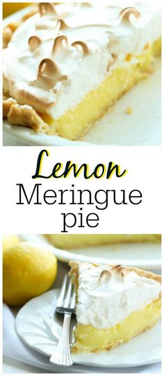 Lemon Meringue Pie Recipe from SixSistersStuff.com | This lemon meringue pie is the perfect dessert for a family get together or summer bbq.  You will love the delicious homemade pie crust and the light and fluffy meringue on top.