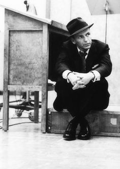 Frank Sinatra at a Capitol Records recording session in Los Angeles, 1957.  Photographed by Sid Avery.