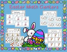 Easter Math Centers for Second Grade---skip counting, counting money, telling time, and simple algebra--Aligned with Common Core Math Standards for second grade--2.NBT.2, 2.MD.8, 2.MD.7