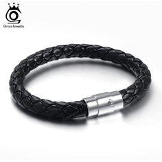 ORSA JEWELS New Fashion Jewelry Men Leather Titanium Steel Bracelets Male Retro Bracelet Personality Gift OTB08