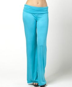 Look at this #zulilyfind! Turquoise Fold-Over Palazzo Pants by BOLD & BEAUTIFUL #zulilyfinds